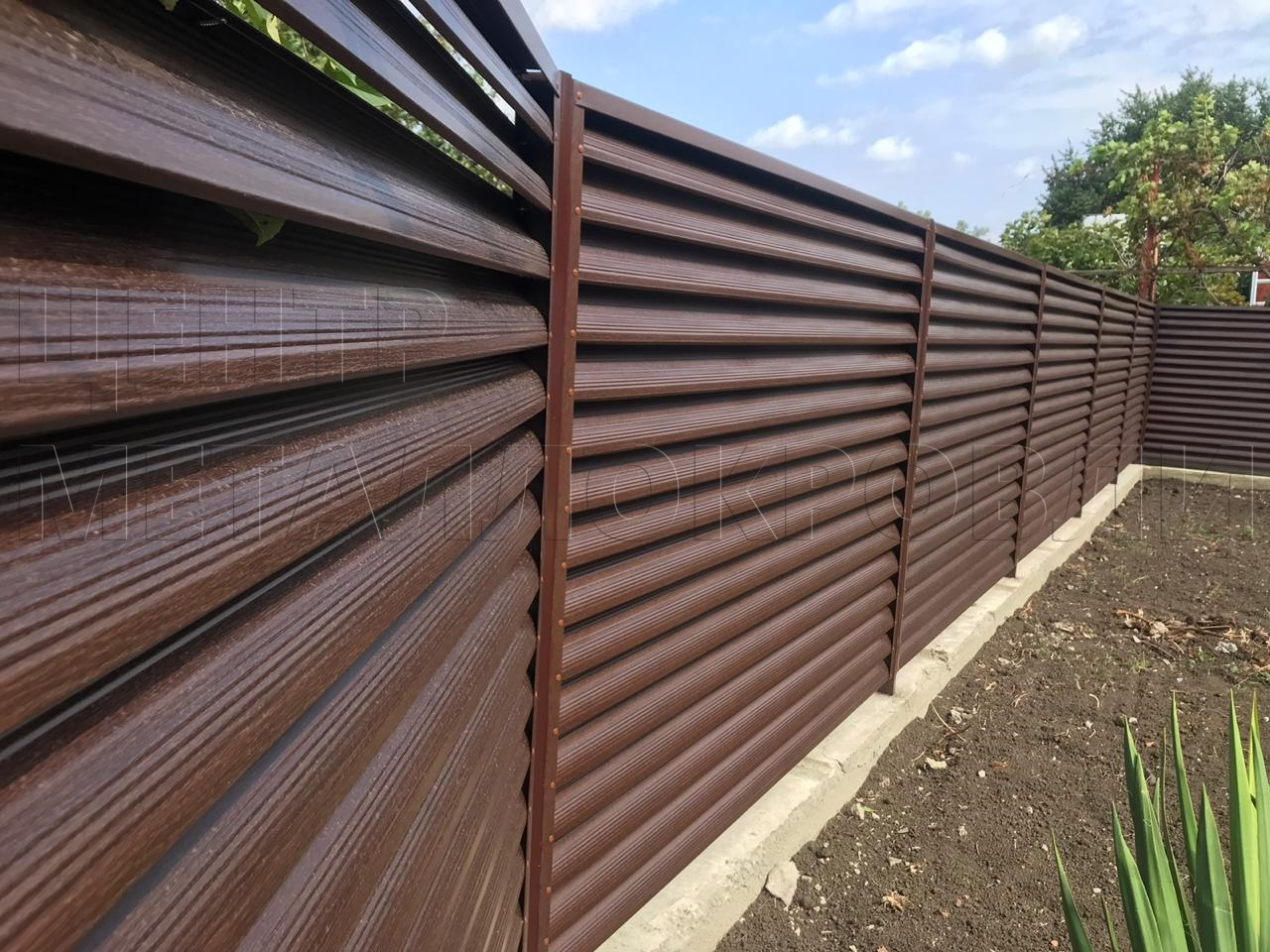 Забор Еврожалюзи от Центра Металлокровли цвет Морёный Дуб