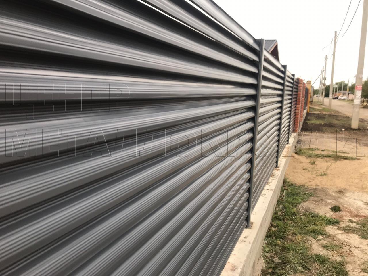 Забор Еврожалюзи в цвете Серый графит от Центра Металлокровли в Сочи