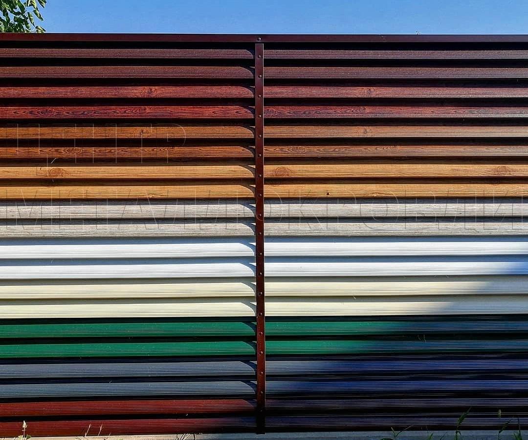 Забор-жалюзи от Центра Металлокровли стенд в Новороссийске