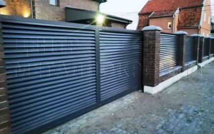 забор-жалюзи с ламелями еврожалюзи Тёмный графит в Калининграде