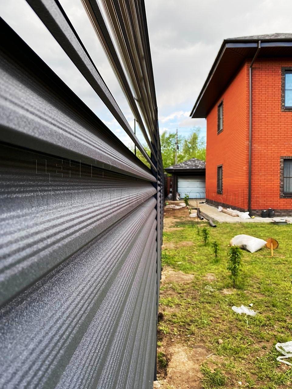 Еврожалюзи забор-жалюзи серый графит - 1