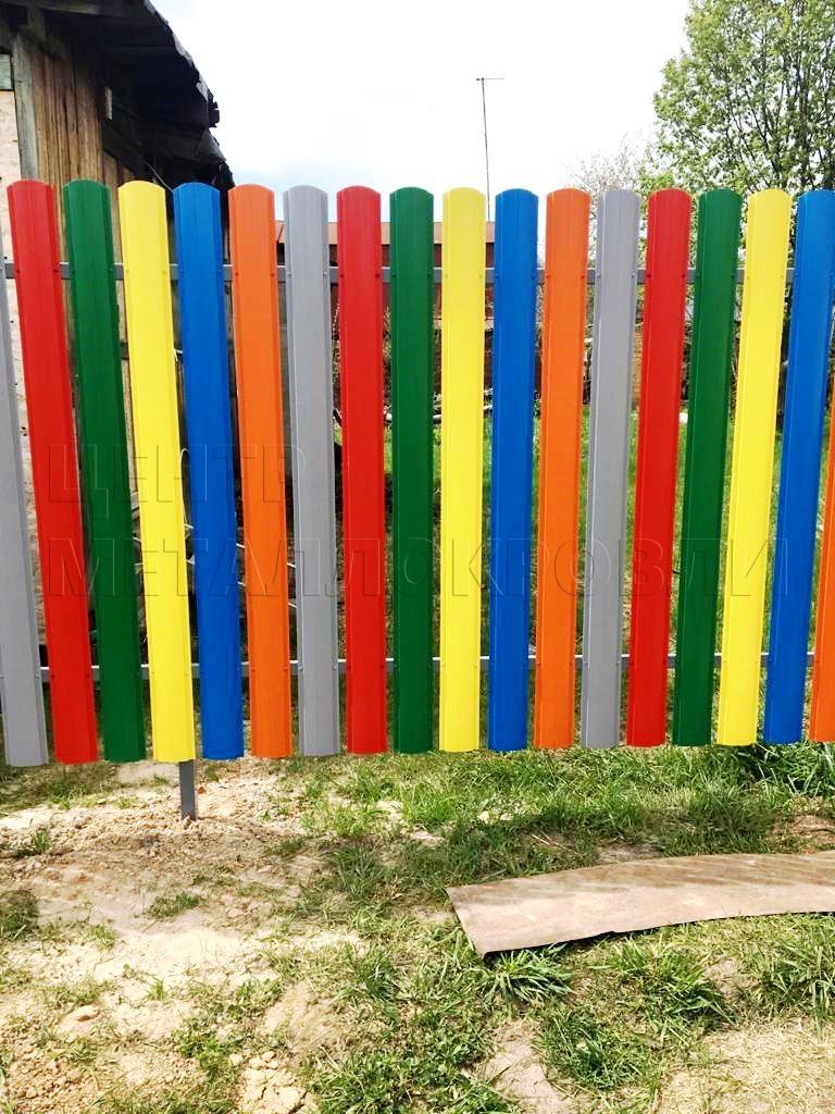 Разноцветный забор-жалюзи евроштакетник фигурный - 3